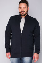 Yours Clothing BadRhino Navy Knitted Zip Sweater With Funnel Neck