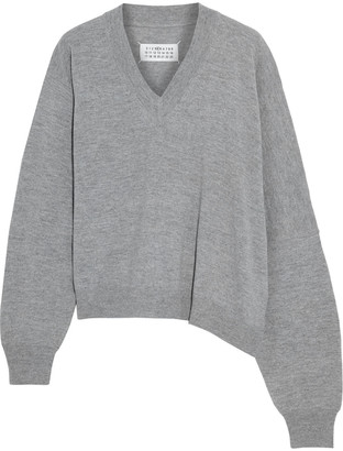 Maison Margiela Asymmetric Melange Wool And Cashmere-blend Sweater
