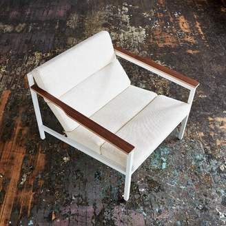 Gus* Modern Halifax Powder Coat Andorra Pewter Armchair Gus* Modern Upholstery Color: Huron Ivory, Leg Color: Steel Painted White