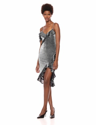 LIKELY Women's Evangeline Stretch Metallic Ruffle Party Dress