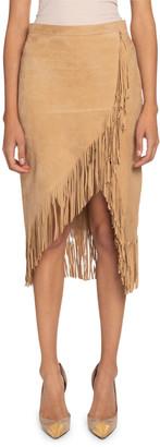Altuzarra Suede Fringed Wrap Skirt