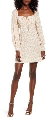 Rowa Floral Print Long Sleeve Minidress