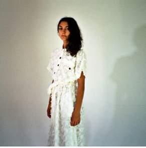 HuiHui - white button dress with belt, Huihui-Studio - cotton   white   Size S - White/White