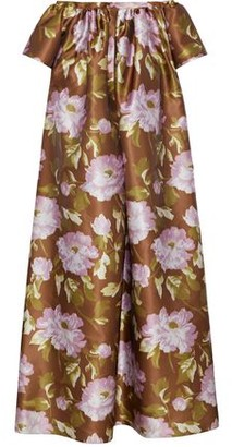 Rochas Off-the-shoulder Gathered Floral-print Satin Gown