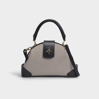 Atelier Manu Demi Top Handle Bag In Beige And Black Cotton And Vegetable Tanned Leather