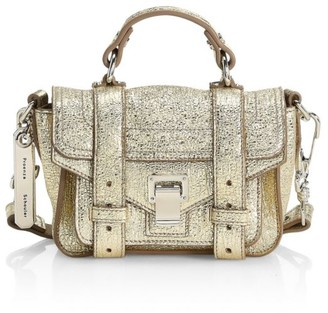 Proenza Schouler Micro PS1 Metallic Leather Satchel