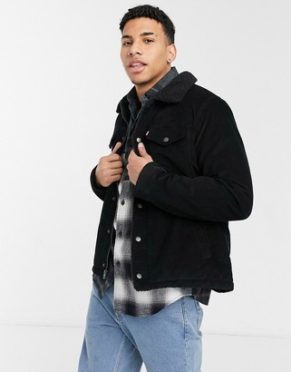 Levi's corduroy military jacket sherpa lining & collar in black