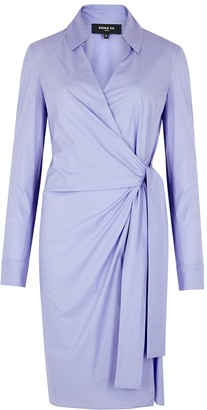 Paule Ka Lilac poplin wrap shirt dress