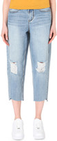 Mo&Co. Boyfriend stepped-hem mid-rise jeans