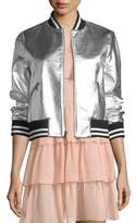 Alice + Olivia Demia Leather Crop Bomber Jacket