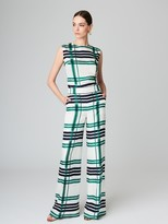 Oscar de la Renta Plaid Silk-Twill Wide-Leg Pants