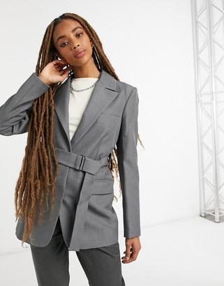 Topshop belted blazer in grey
