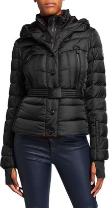 MONCLER GRENOBLE Beverley Belted Puffer Coat w/ Fur Trim