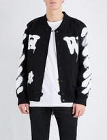 Off-White Spray-effect stretch-cotton varsity jacket