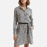 Esprit Knee-Length Shirt Dress in Leopard Print with Tie-Waist and Long Sleeves