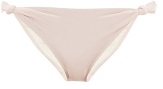 Solid & Striped Jade Knotted Ribbed Bikini Briefs - Womens - Light Pink