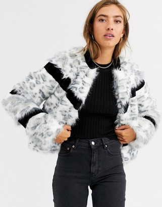 Urban Code Urbancode faux fur mix coat in snow leopard-White