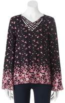 Pink Republic Juniors' Pink Republic Strappy Bell Sleeve Top