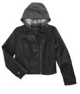 Bernardo Girl's Hooded Faux Leather Jacket