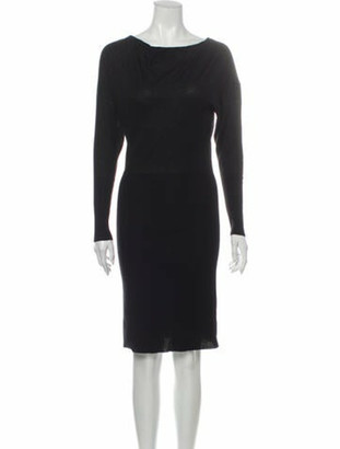 Hermes Cashmere Knee-Length Dress Black