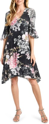 Komarov Floral Print Handkerchief Hem Dress