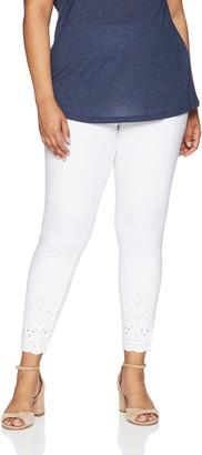 Hue Women's Plus Size Eyelet Embroidered Hem Cotton Skimmer Legging
