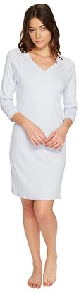 Hanro Pure Essence 3/4 Sleeve Gown (Blue Glow) Women's Pajama