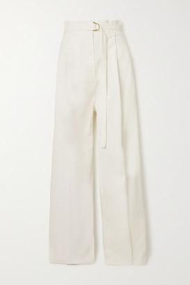 Philosophy di Lorenzo Serafini Belted Pleated Stretch-cotton Twill Wide-leg Pants - Ivory