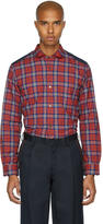 Junya Watanabe Red and Navy Tartan Check Shirt