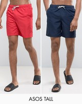 Asos Tall Mid Length Swim Shorts In Navy And Red 2 Pack Save