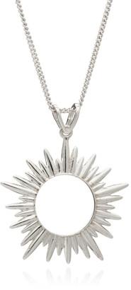 Rachel Jackson London Electric Goddess Medium Sun Necklace - Silver