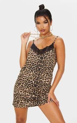 PrettyLittleThing Tan Leopard Print Lace Neck Detail Strappy Slip Dress