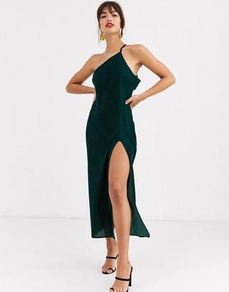 Asos Design DESIGN one shoulder midaxi dress in velvet with drape back-Green