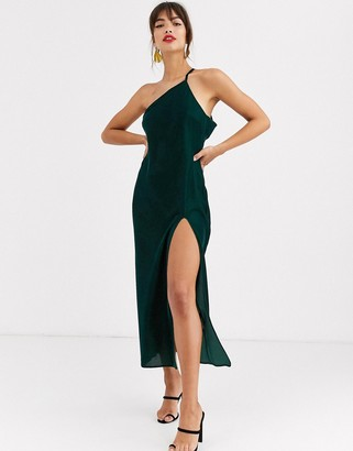 ASOS DESIGN one shoulder midaxi dress in velvet with drape back