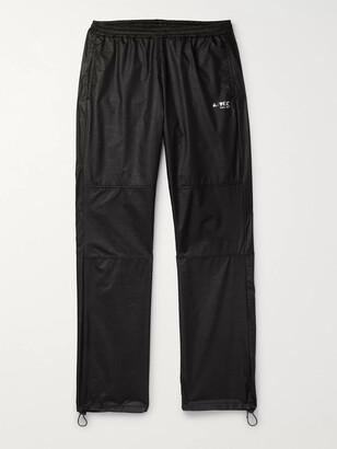 AFFIX Mesh-Trimmed Logo-Print Textured-Nylon Track Pants - Men - Black