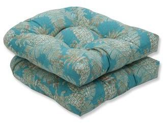 Bay Isle Home Emeline Batik Wicker Indoor/Outdoor Rocking Chair Cushion Fabric: Lagoon