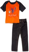 U.S. Polo Assn. Orange '1890' Raglan Tee & Plaid Shorts - Infant & Boys