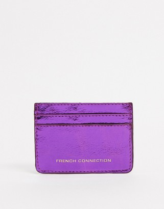 French Connection Faux Leather Croc Card Holder