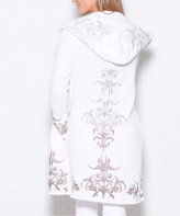 Paparazzi White Embroidery Drape-Front Hooded Open Cardigan