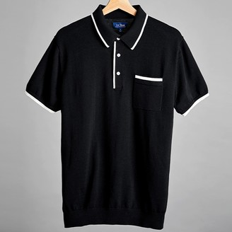Tie Bar Black Tipped Cotton Sweater Polo