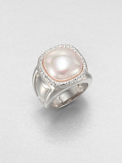 Majorica 14MM Square Mabe Pearl and Sterling Silver Ring