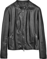Forzieri Black Leather Motorcycle Jacket