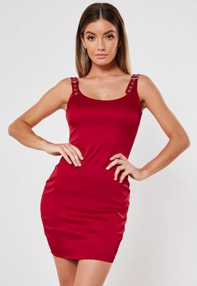 Missguided Red Buckle Strap Satin Bodycon Mini Dress