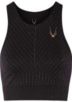 Lucas Hugh Technical Knit Stardust Metallic Stretch Sports Bra - Black