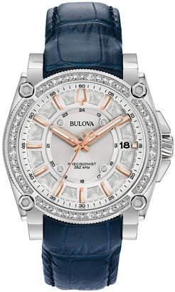 Bulova Women Precisionist Diamond (3/4 ct. t.w.) Blue Leather Strap Watch 40mm