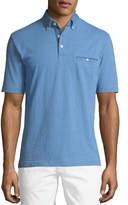 Neiman Marcus Button-Down Knit Polo Shirt, Medium Blue