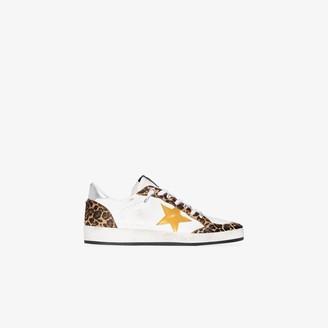 Golden Goose white Ball Star leopard print sneakers