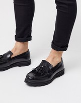 Ben Sherman leather tassle loafer in black