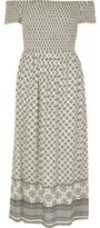 River Island Womens Cream tile shirred bardot maxi dress