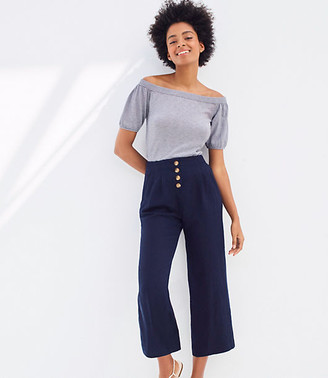 LOFT Linen Blend Button Front Wide Leg Pants